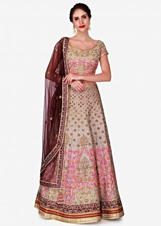 Grey lehenga in raw silk constructed in zardosi and resham patchwork embroidery