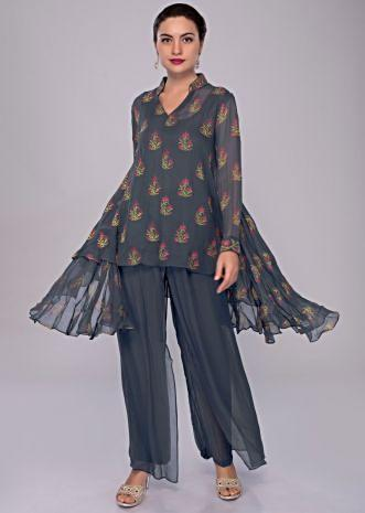 Greyish blue asymmetric printed georgette suit with double layer palazzo