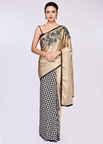 Half and half black and white geometric motif saree with beige satin pallo