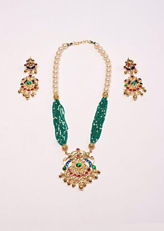 Half and half pearl and moti necklace set with navratna stones