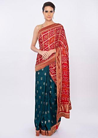 Half and half saree with crushed bandhani pallo only on kalki