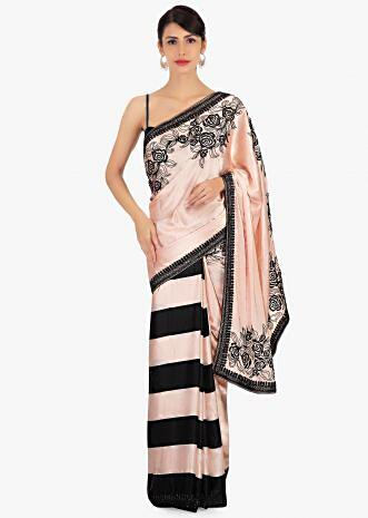Half and half satin saree in peach and black stripes