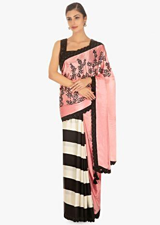 Half and half satin saree in pink and black and white stripes