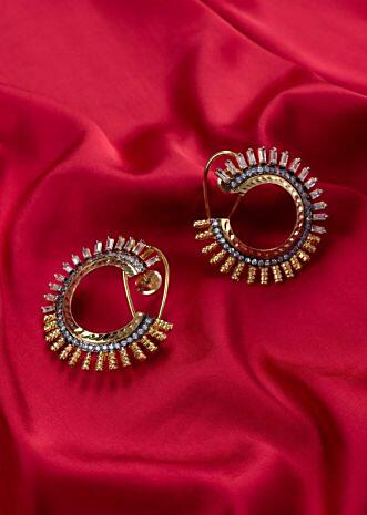 Half circle cluster earring with buggle beads and golden moti beaded edges only on Kalki