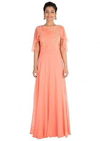 Hand Embroidered Apricot Backside Cape Gown