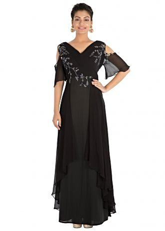 Hand embroidered Jet black cold shoulder dress