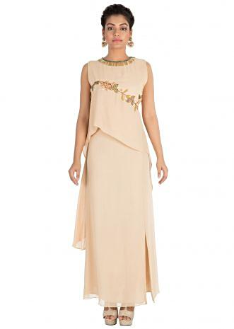 Hand embroidered Light beige double layered dress