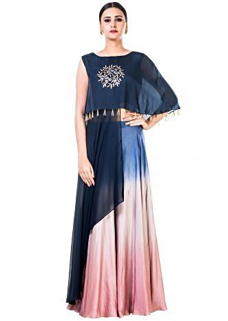 Hand Embroidered Navy Blue and Pink Crop Top with an Attached Long Cape and a Shaded Palazzo