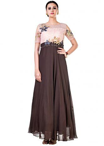 Hand Embroidered Peach and Brown Cold Shoulder Gown