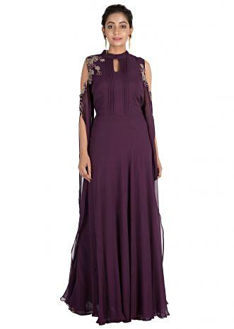 Hand embroidered Plum colour cold shoulder dress with long sleeves