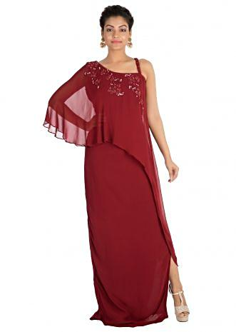Hand embroidered Wine colour one sided cape dress