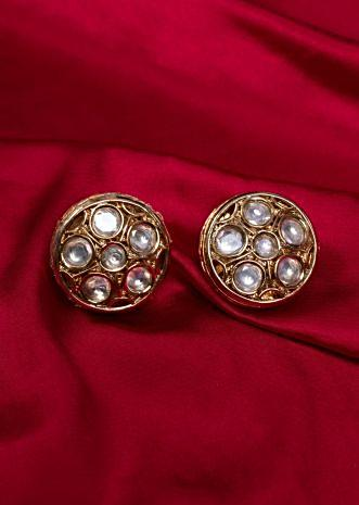 Heavy gold plated round studs with kundan stone only on kalki