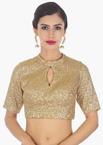 High neck golden sequins blouse with triangular cut out at the back