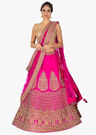 Hot pink raw silk lehenga  with net dupatta andonly