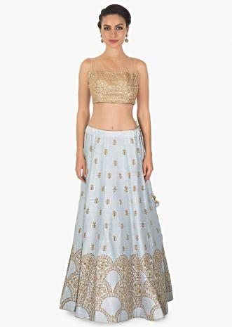 Ice blue raw silk lehenga with exquisite zardosi and moti embroidery