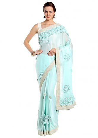 Ice blue saree in 3d flower embroidery  only on Kalki