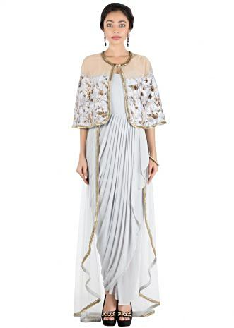 Ice Grey Cape and Trail Style Drape Dress