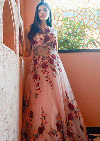 Pink net gown in resham embroidery
