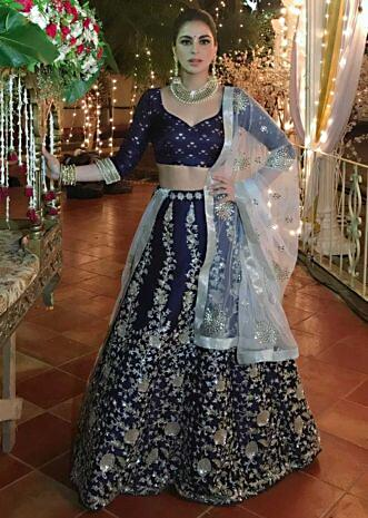 Navy blue cut dana embroidered lehenga set with pink net dupatta only on kalki