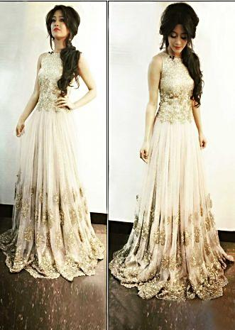 Shivangi Joshi wearing kalki cream sequin gown at Star Screen awards