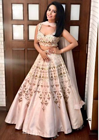 Vinny Arora in kalki powder pink raw silk lehenga set with draped net dupatta