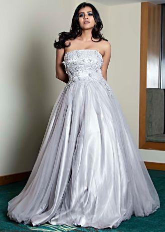 Grey strapless gown in net with 3D flower embroidered bodice