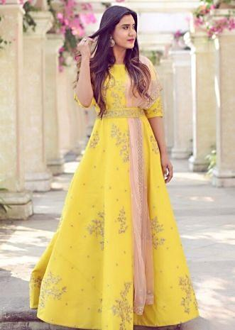 Feroza Shaikh in Kalki yellow taffeta silk anarkali dress