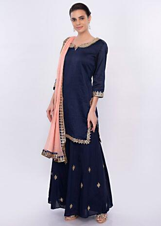 Indigo blue gotta patch embroidered palazzo set only on Kalki