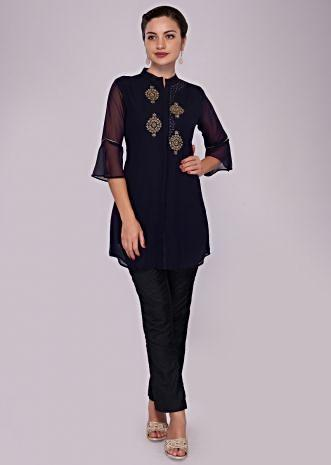 Indigo blue kurti in georgette adorn in moti and kundan embroidered butti only on Kalki