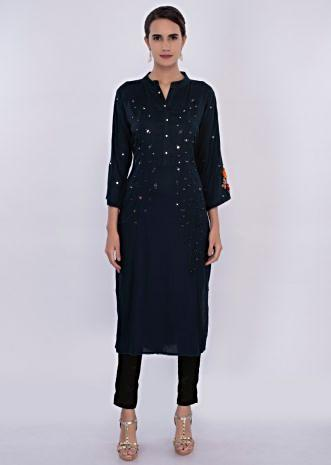Indigo blue kurti in mirror and resham butti only on Kalki