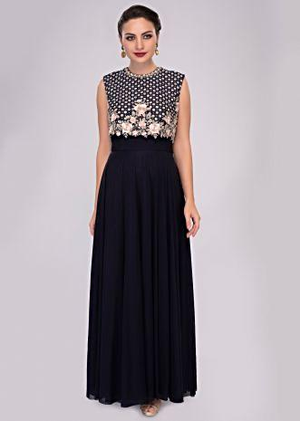 Indigo blue lycra net gown with embroidered raw silk bodice