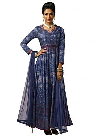 Indigo blue printed anarkali suit with highlighted bodice