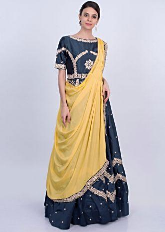 Indigo blue taffeta silk anarkali dress with yellow prestitched dupatta only on Kalki