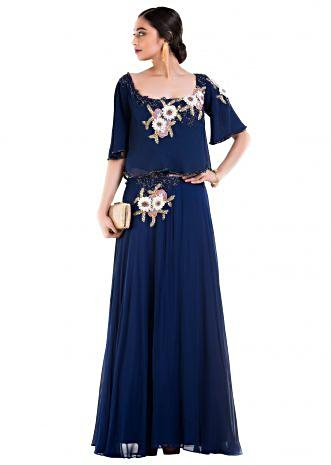 Indigo Blue Wide Neck Cape Dress.