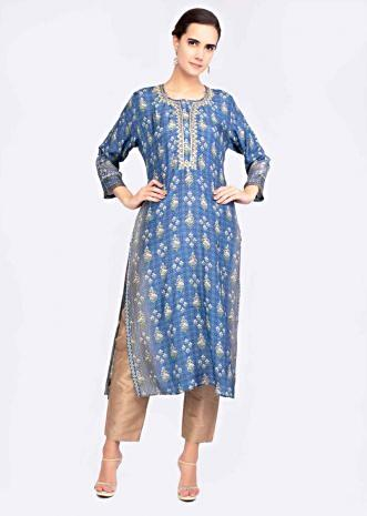 c104cc31b Indio blue cotton silk printed kurti with embroidered placket only on Kalki  ...