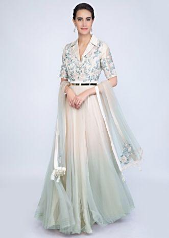 220c5922de462 Ivory and green shaded fancy anarkali dress with floral resham embroidery  only on Kalki .