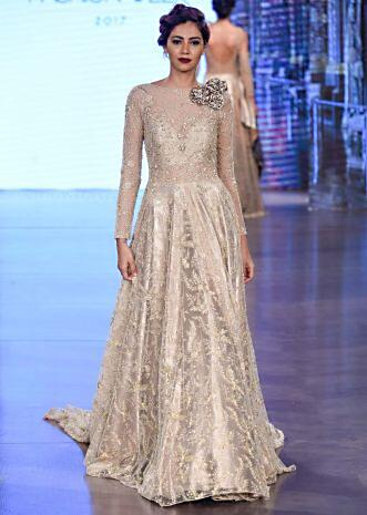 83b6684569 Ivory & Beige cocktail dress adorned with intricate pearl embroidery and 3D  flowers only on Kalki