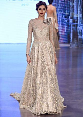 Ivory & Beige cocktail dress adorned with intricate pearl embroidery and 3D flowers only on Kalki