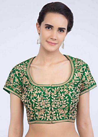 f707348197307f Jade green raw silk blouse with floral thread jaal embroidery only on Kalki  ...
