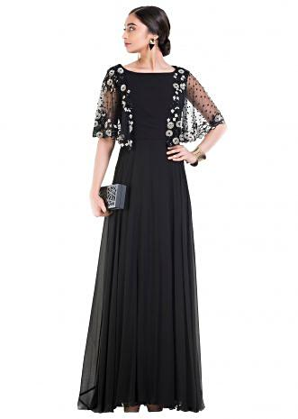 Jet Black Long Dress With Embroidered Half Cape