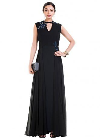 Jet Black Long V Neck Sleeveless Gown