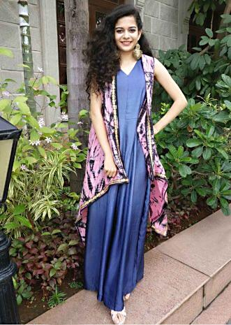 Mithila Palkar in kalki blue Jumpsuit with long jacket only on Kalki