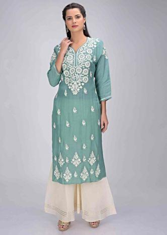 6b2b391833 Jungle green cotton kurti with thread embroidery work only on Kalki ...