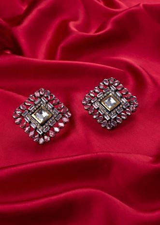 Kite shape cluster earring with crystal stone in pearl cut shape only on Kalki