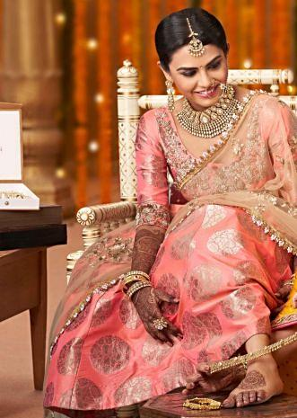 Pink lehenga adorn in embroidered neckline only on Kalki