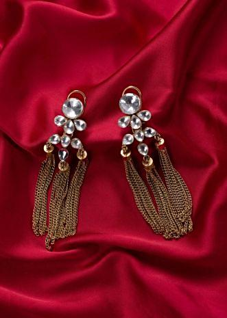 Kundan studded triple layer chain drop earring only on Kalki