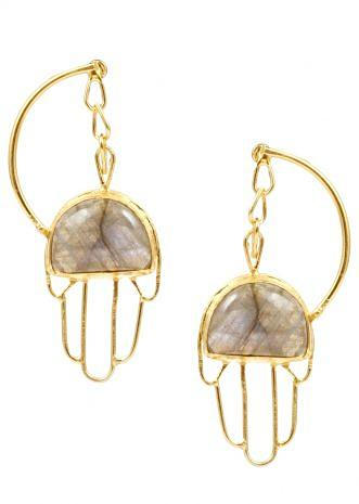 Labradorite Stone Earrings In Gold Plated Buddha Hand Design Made In Sterling Silver By Sangeeta Boochra