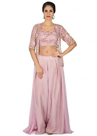 Lady pink suit in palazzo pant and embroidered jacket with tassel lace only on Kalki