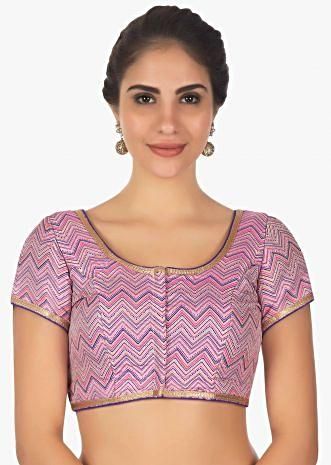 Lavender brocaded blouse in zig zag lines