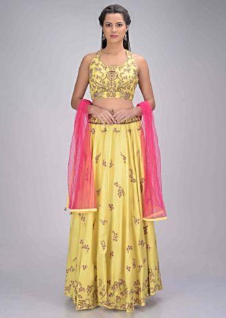 0fb8415405 Lemon yellow satin crepe lehenga set with fuchsia net dupatta only on Kalki  ...